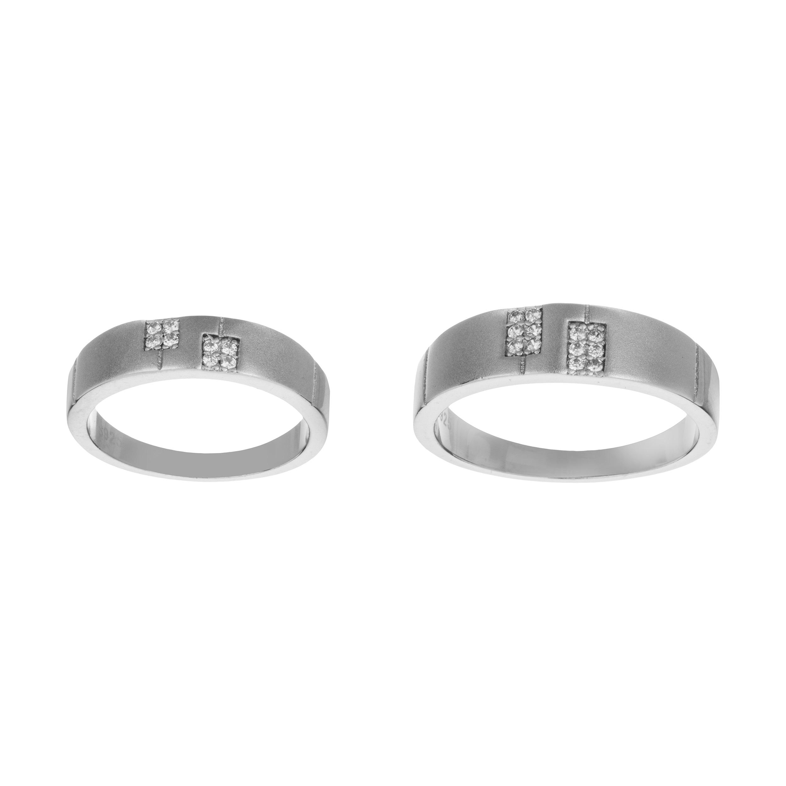 ست انگشتر نقره زنانه و مردانه کد GR1002