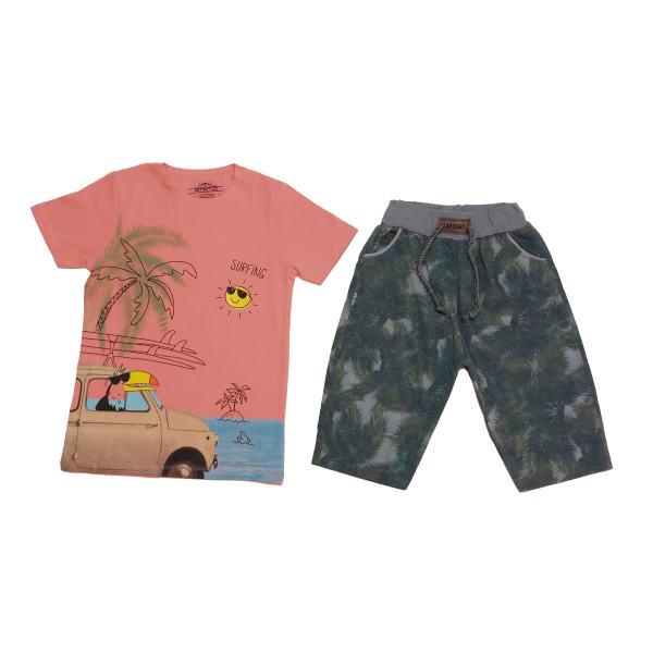 ست تی شرت و شلوارک پسرانه مدل هاوایی کد 1280