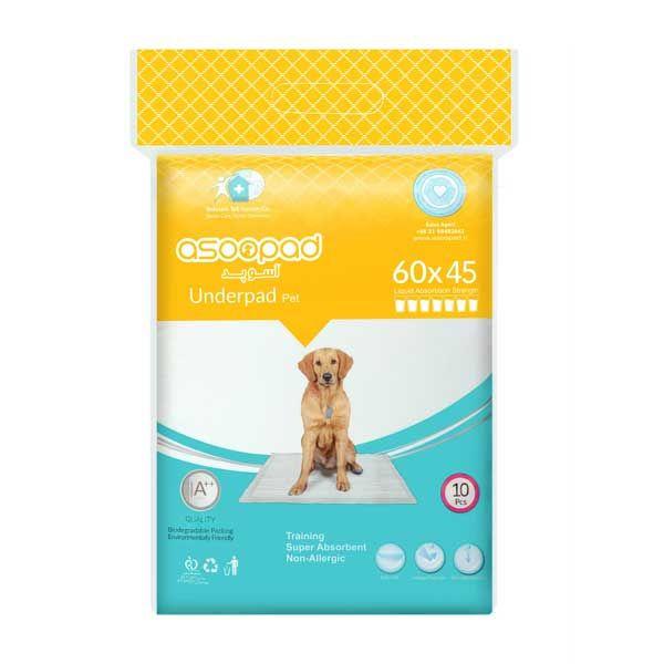 پد زیر انداز بهداشتی سگ آسوپد کد 6045 بسته 10 عددی