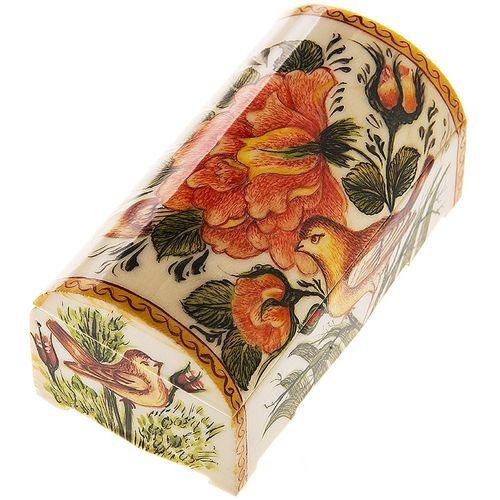 جعبه استخوانی اثر خیر آبادی طرح گل و مرغ