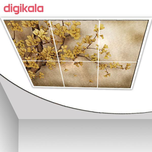 خرید اینترنتی با تخفیف ویژه تایل سقفی آسمان مجازی طرح شاخه درخت برگریزان کد 1498-6 سایز 60x60 سانتی متر مجموعه 6 عددی