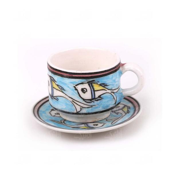 فنجان و نعلبکی سرامیکی آرانیک مدل طرح ماهی کد 1007800021