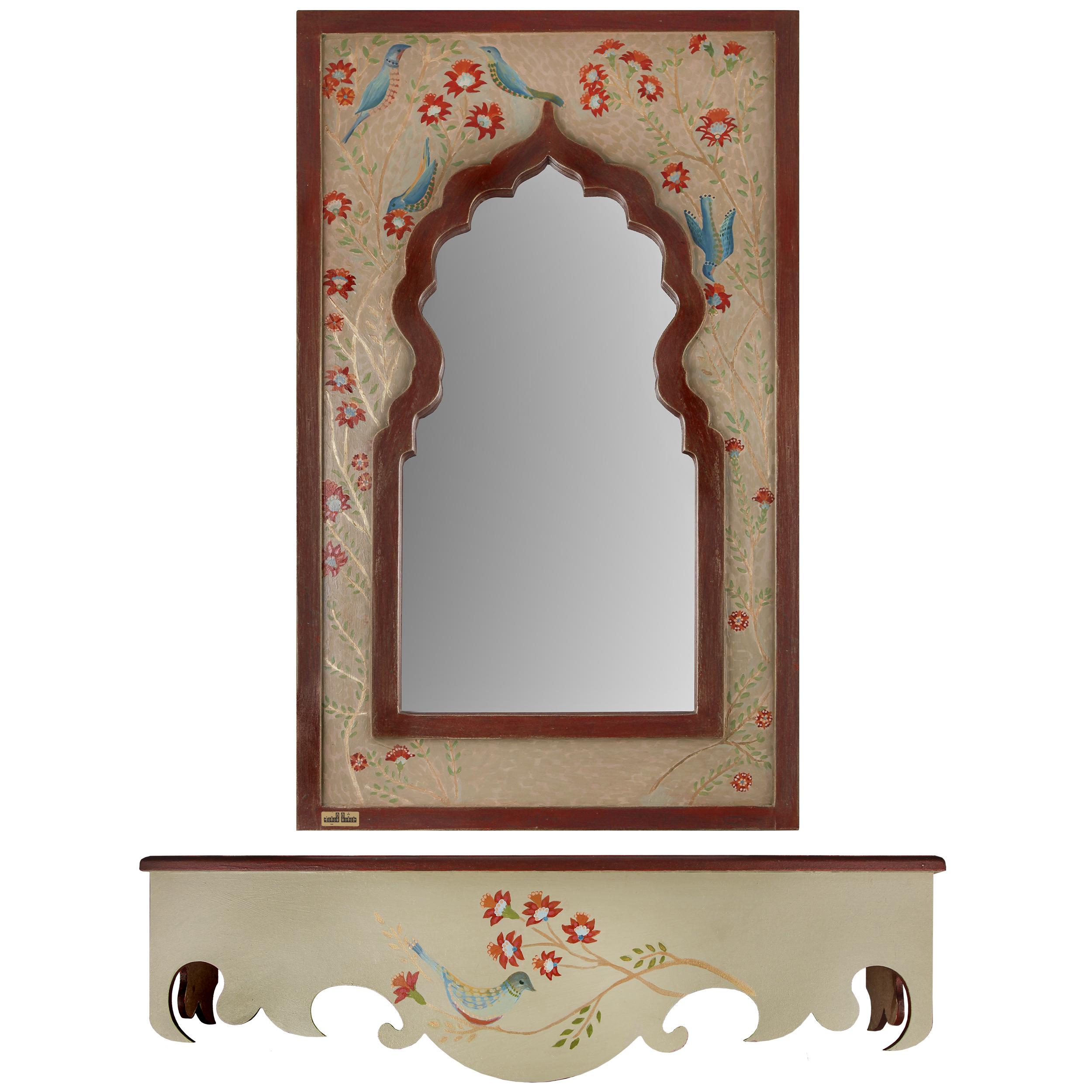 آینه و کنسول مثالین مدل گل و مرغ کد 314042