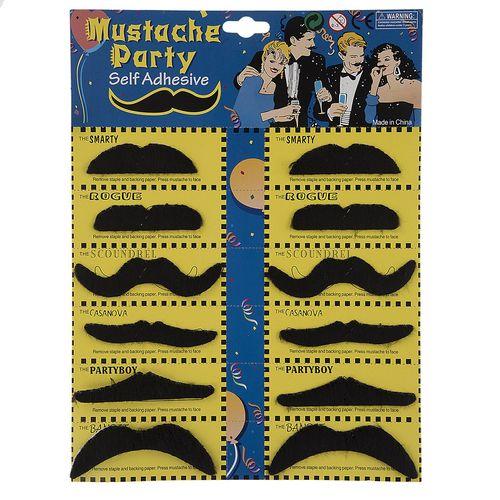ست سیبیل نمایشی مدل Black Mustache بسته 12 عددی