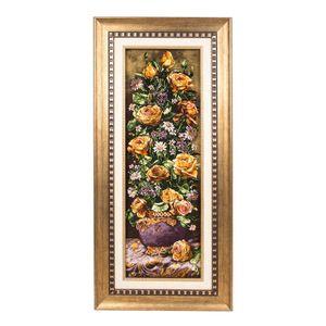 تابلو فرش گالری سی پرشیا طرح گل رز با گلدان کد 901208