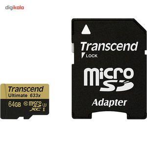کارت حافظه microSDXC ترنسند مدل Ultimate کلاس 10 استاندارد UHS-I U3 سرعت 95MBps 633X همراه با آداپ
