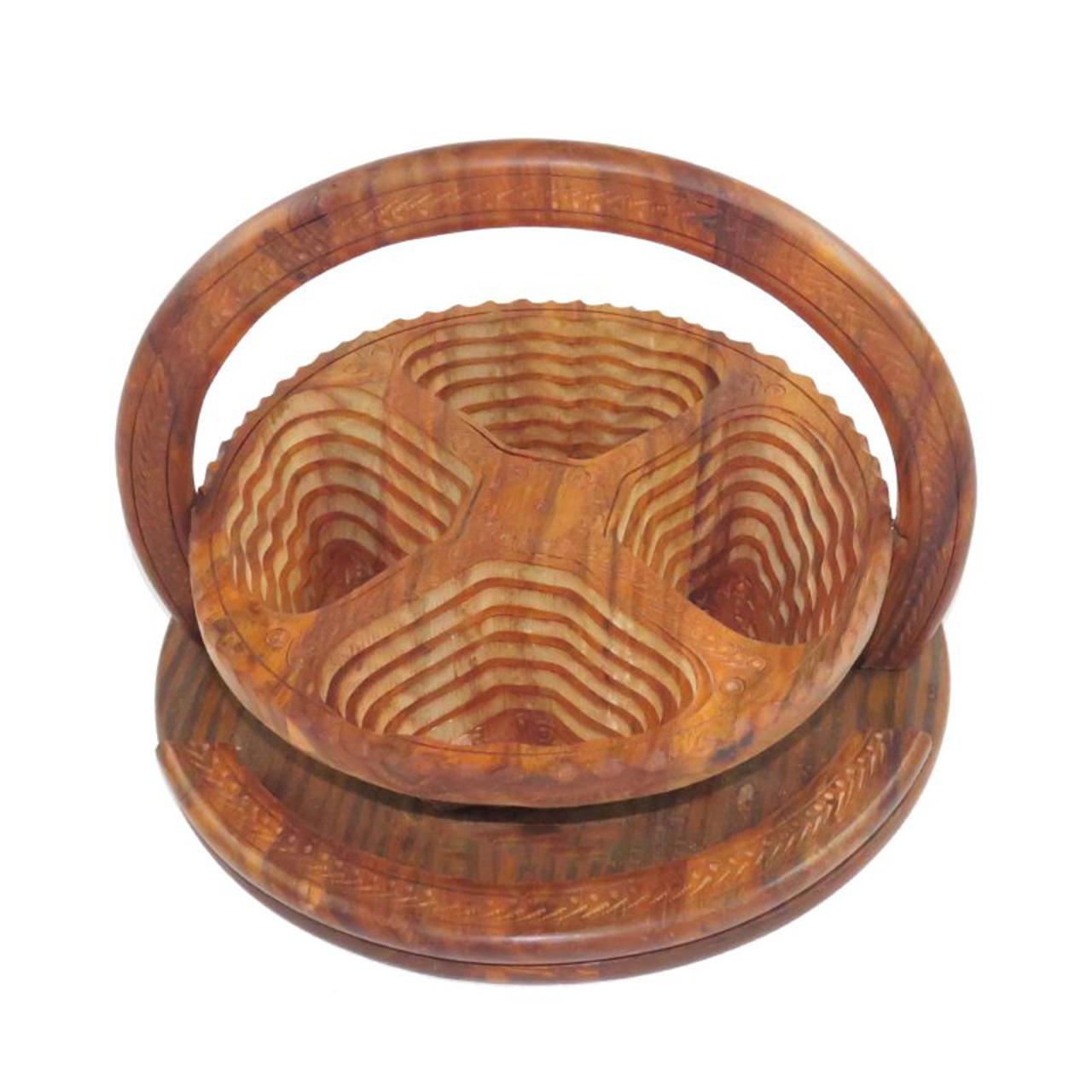 آجیل خوری چوبی مدل چهار ترنج کد A10
