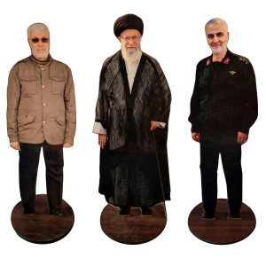 تندیس طرح مقام معظم رهبری و سردار سلیمانی و ابومهدی مهندس مدل EM8 مجموعه3عددی