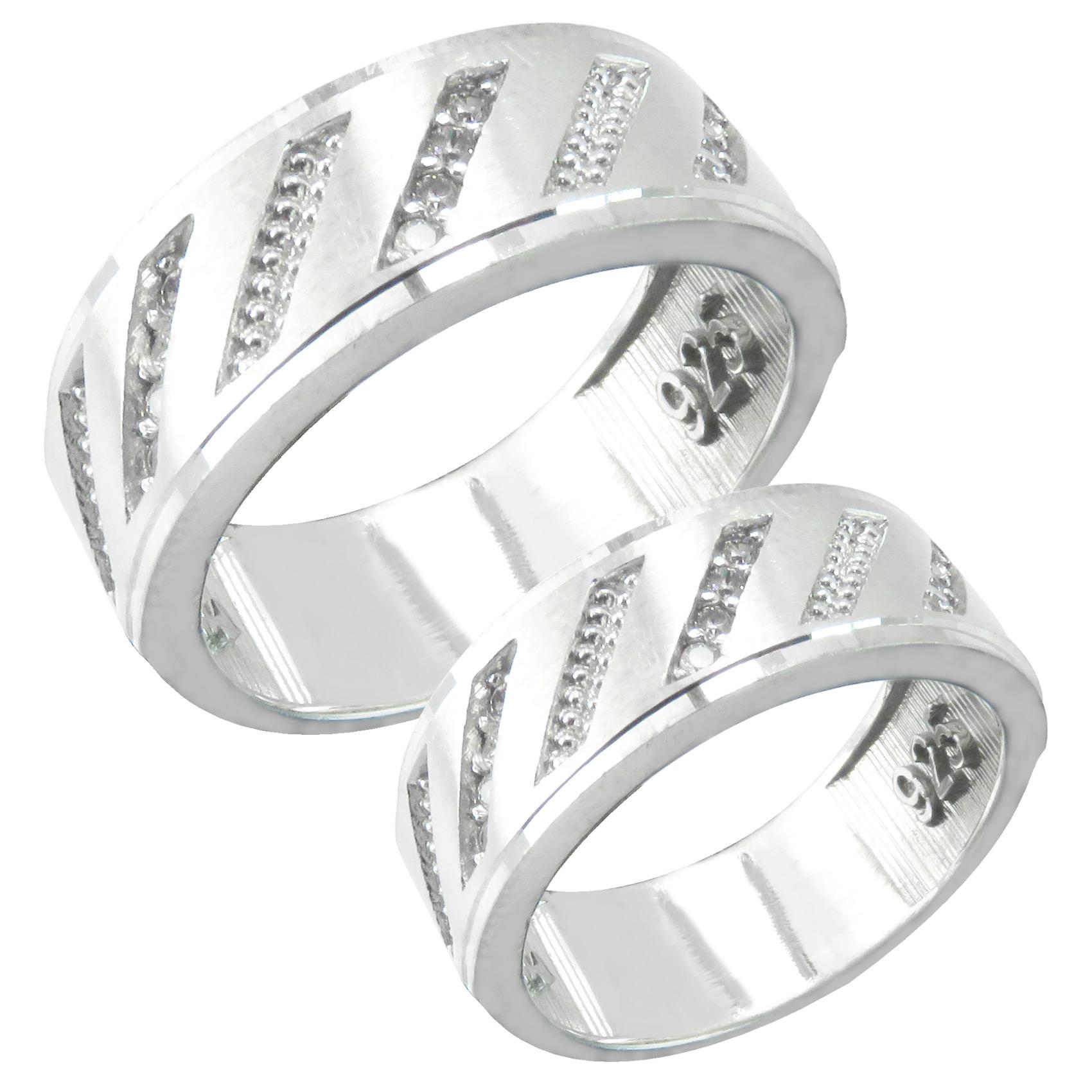 ست انگشتر نقره زنانه و مردانه کد AV157