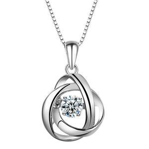 گردنبند نقره زنانهشهر جواهر مدل SJ-N040 سنگ رقصنده