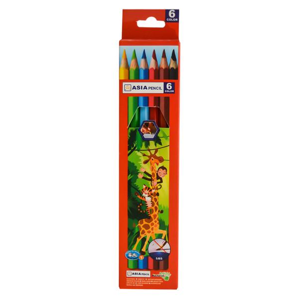 مداد رنگی 6 رنگ آسیا مدل A-6