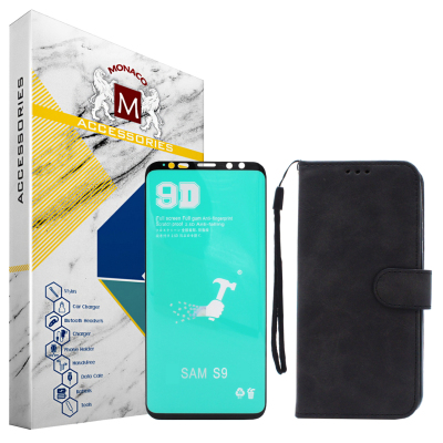 کیف کلاسوری موناکو مدل LS14 مناسب برای گوشی موبایل سامسونگ Galaxy S9 به همراه محافظ صفحه نمایش سرامیکی