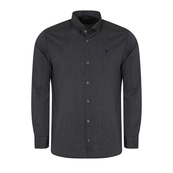 پیراهن آستین بلند مردانه مدل PVLF-Z-9904-B1 رنگ ذغالی