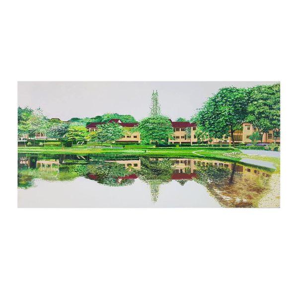 تابلو نقاشی رنگ روغن طرح باغ بهشت کد 140