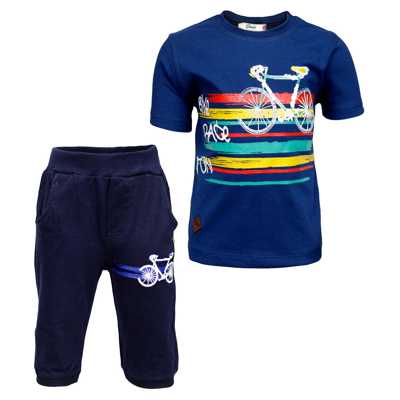 ست تی شرت و شلوارک پسرانه طرح دوچرخه کد 64 رنگ آبی