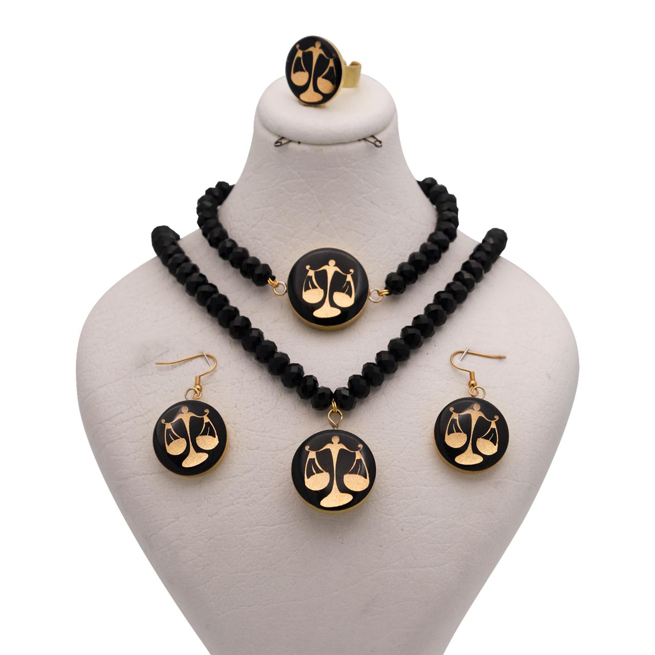 ست طلای 24 عیار رنانه طرح نماد مهر کد 10007M