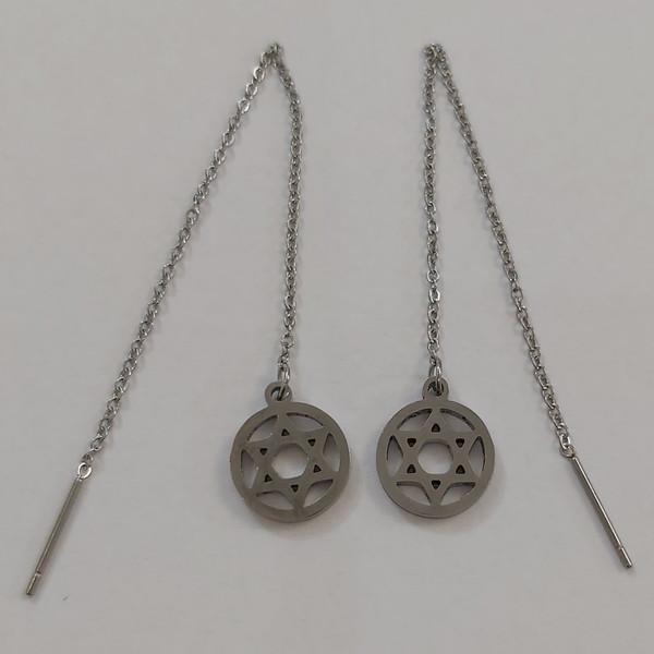 گوشواره زنانه استینلس استیل مدل بخیه طرح ستاره کد sta112