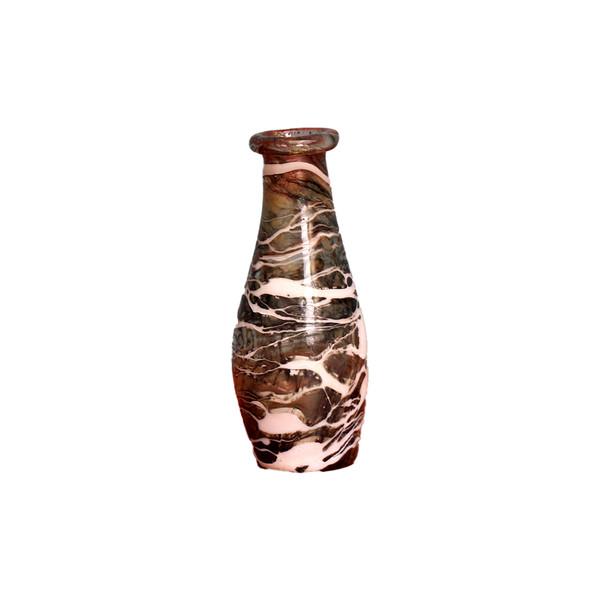 گلدان مینیاتوری شیشه گری با حرارت مستقیم  رنگارنگ طرح زمستان مدل 1015900018