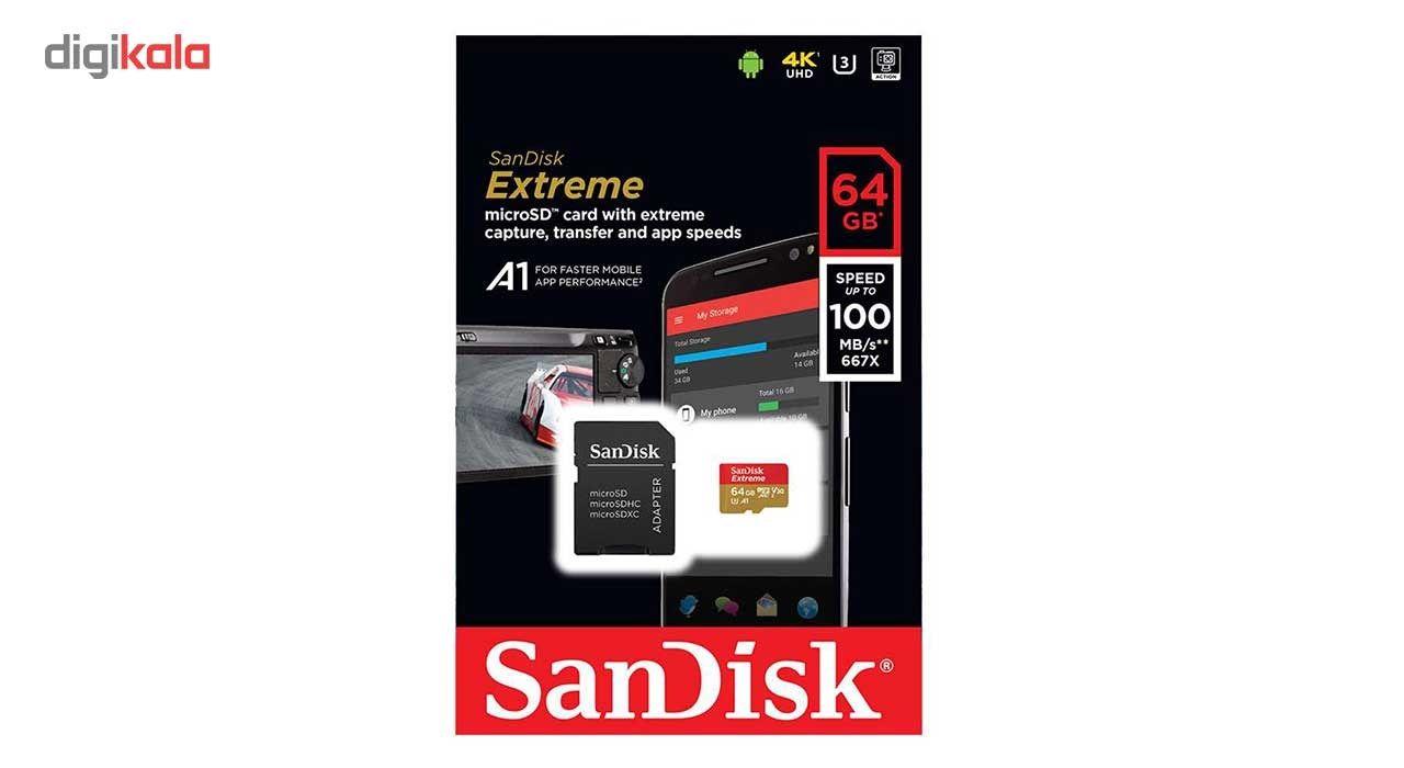 کارت حافظه microSDXC سن دیسک مدل Extreme V30  کلاس A1 استاندارد UHS-I U3 سرعت 100MBps 667X همراه با آداپتور SD ظرفیت 64 گیگابایت main 1 2