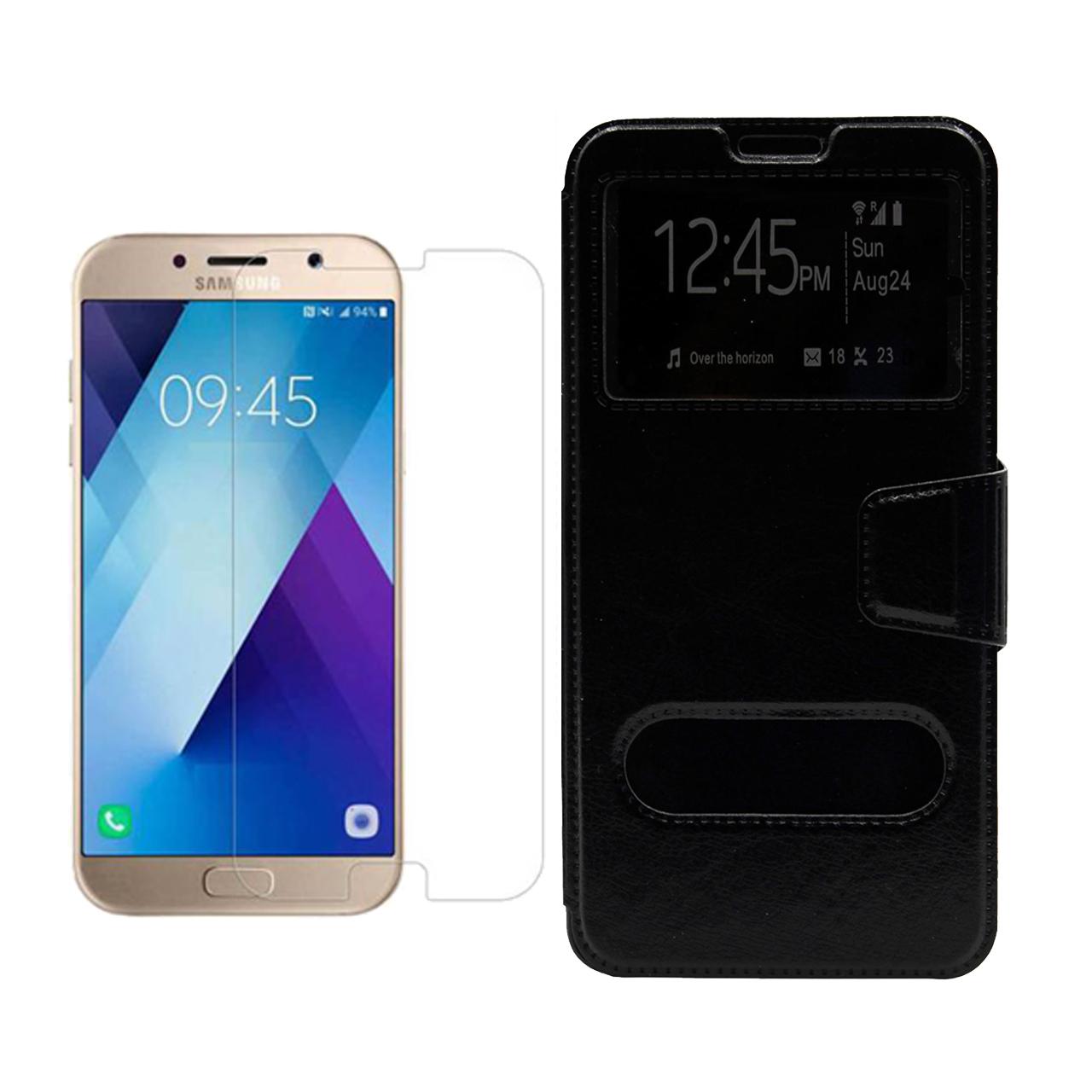 کیف کلاسوری مسیر مدل MKSH-MGM-1 مناسب برای گوشی موبایل سامسونگ Galaxy A7 2017/A720 به همراه محافظ صفحه نمایش