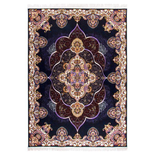 فرش ماشینی دنیای فرش طرح پانیذ زمینه سورمه ای