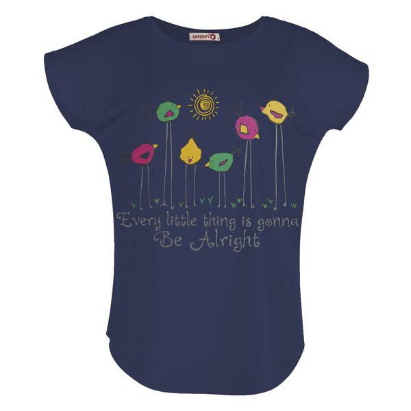 تی شرت زنانه افراتین طرح جوجه کد 2549 رنگ سرمه ای