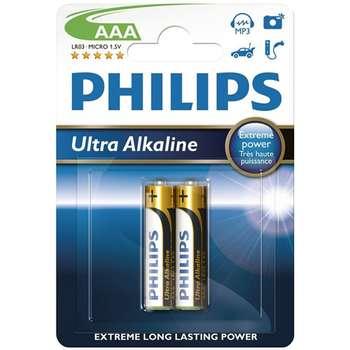 باتری نیم قلمی فیلیپس مدل Ultra Alkaline بسته 2 عددی