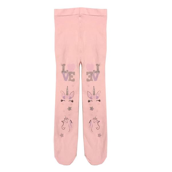 جوراب شلواری دخترانه مدل یونیکورن کد 00485 رنگ صورتی