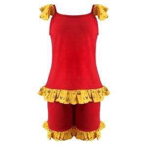 ست تاپ و شلوارک دخترانه افراتین کد 0008 رنگ قرمز