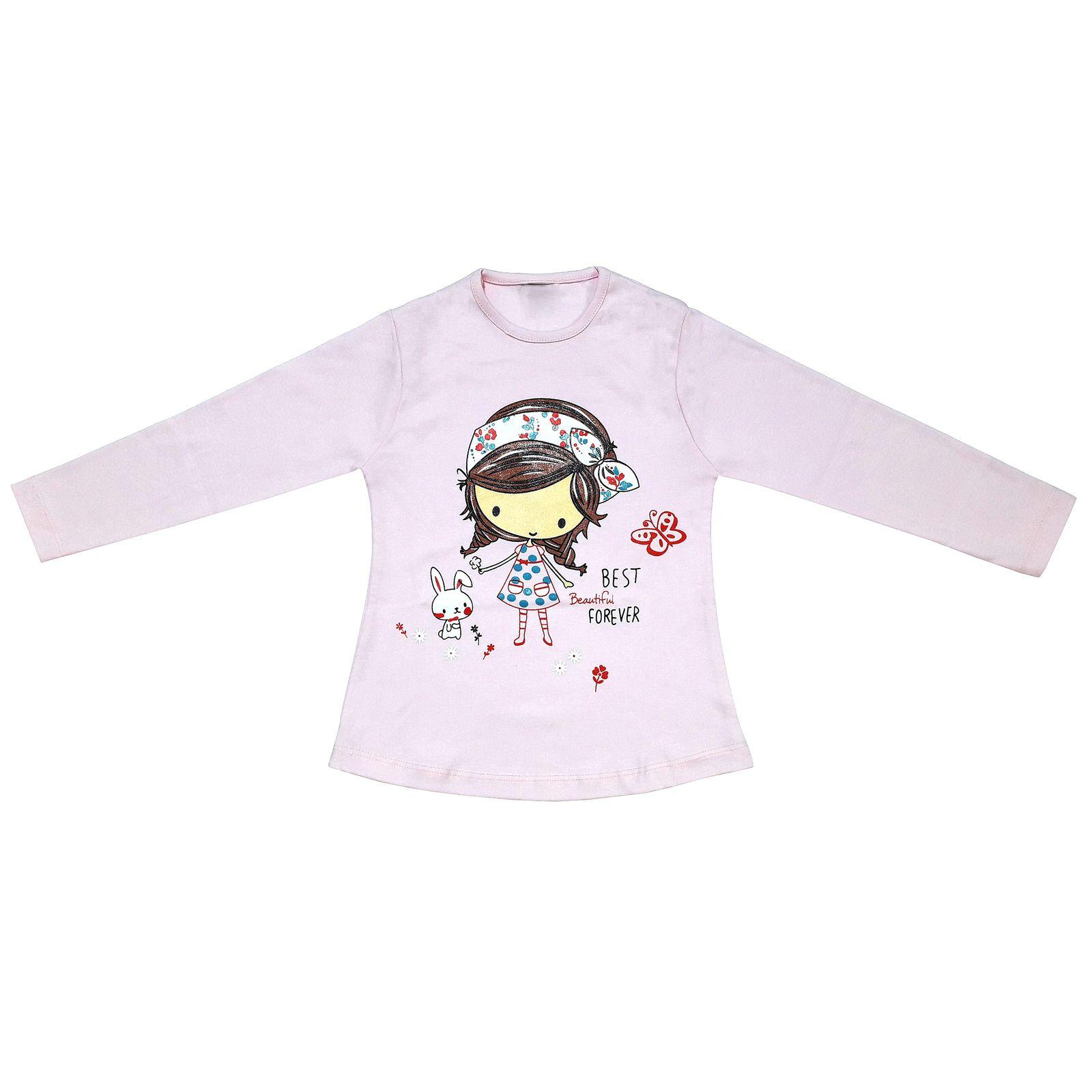 ست تی شرت و شلوار دخترانه طرح دختر و خرگوش کد 3075 رنگ صورتی -  - 4
