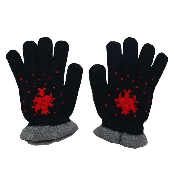 دستکش بافتنی دخترانه طرح گل مدل AS1057