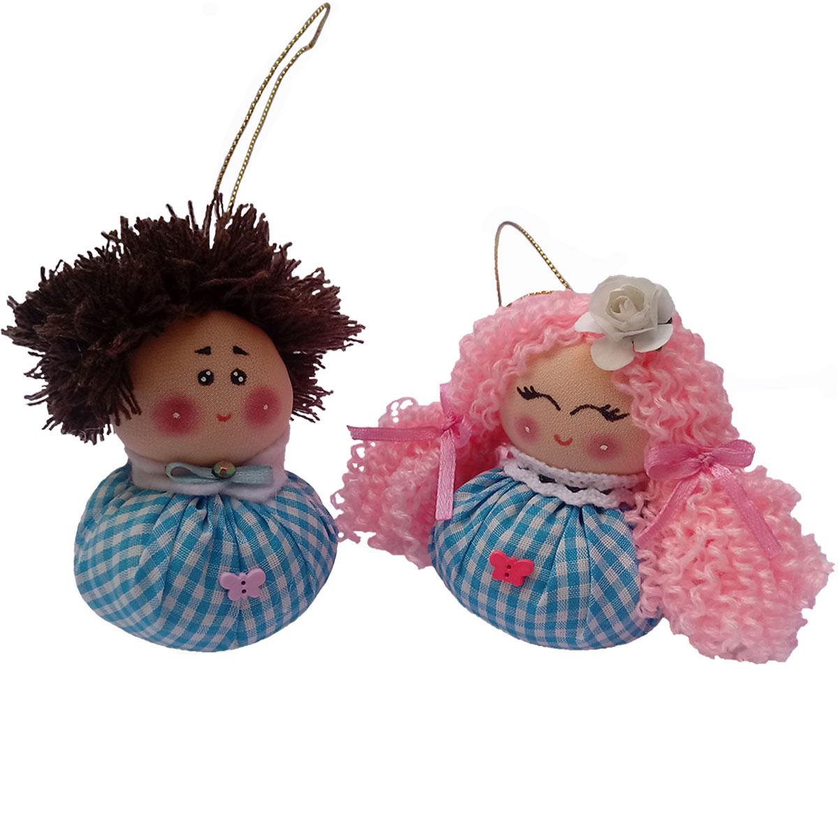 آویز عروسکی طرح دختر و پسر فندقی مجموعه 2 عددی