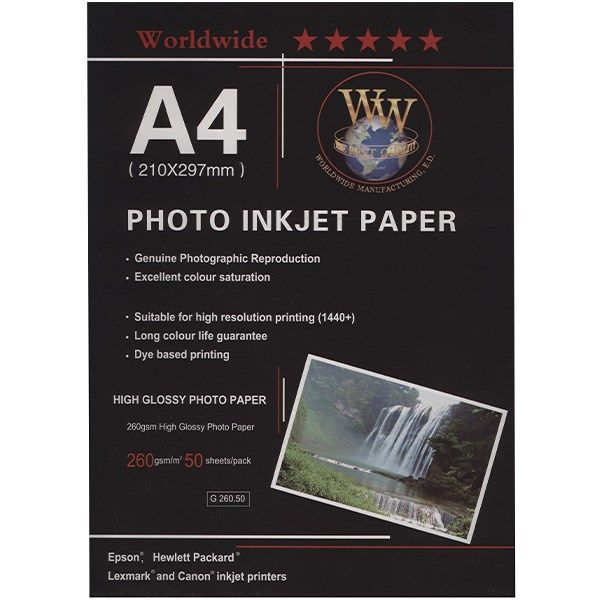 کاغذ عکس Word Wide مدل Photo Injection سایز A4 - بسته 50 عددی