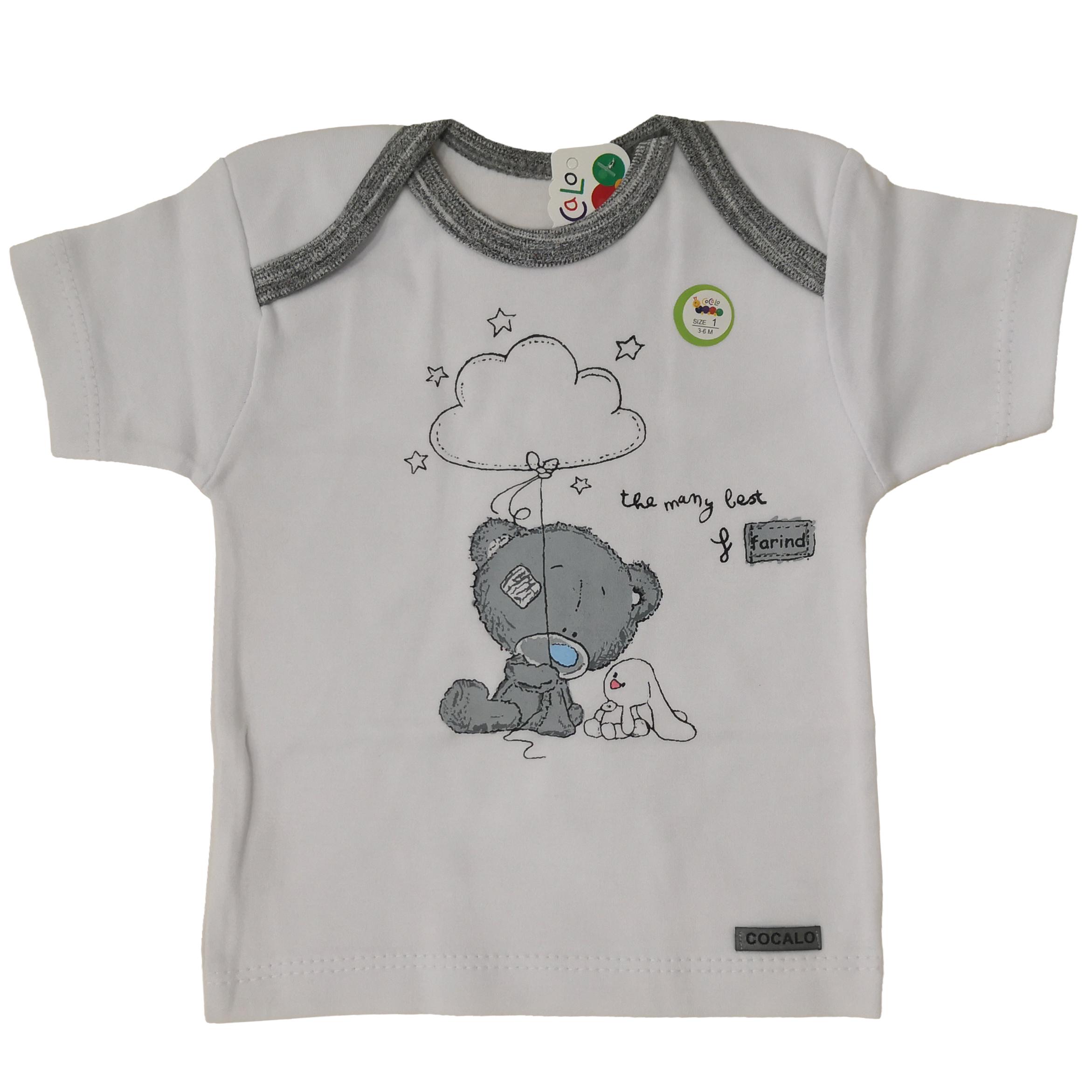تی شرت آستین کوتاه نوزادی کوکالو مدل خرس و خرگوش W01