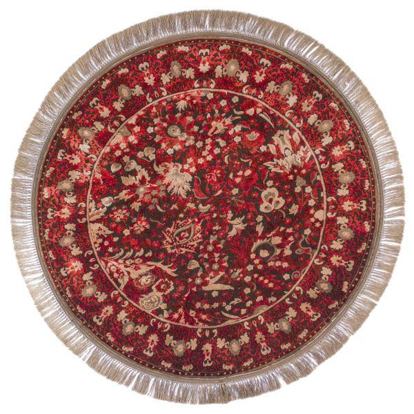 فرش ماشینی عرش طرح بهراد دایره زمینه قرمز