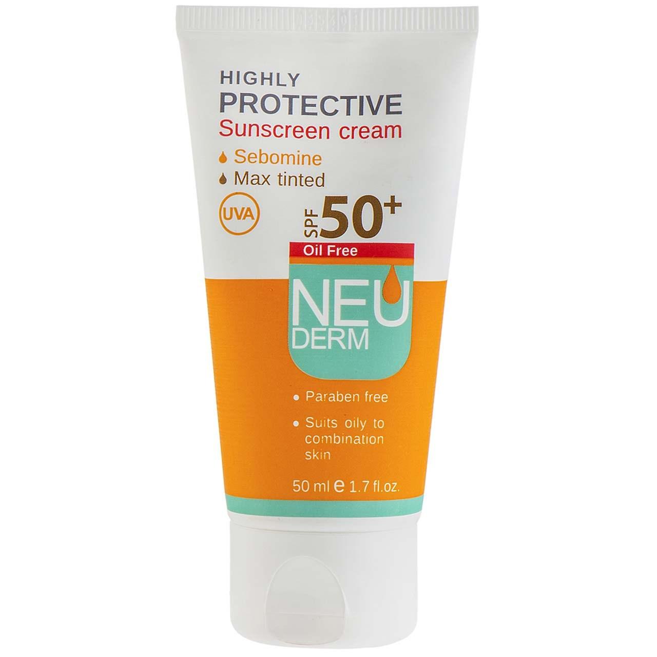 قیمت کرم ضد آفتاب نئودرم مدل Highly Protective Max Tinted SPF50 حجم 50 میلی لیتر