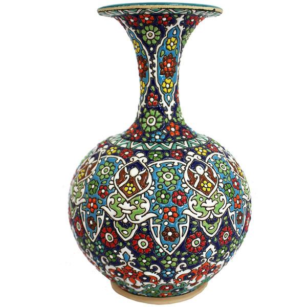 گلدان سفالی دست نگار طرح مینا کاری مدل 618-02