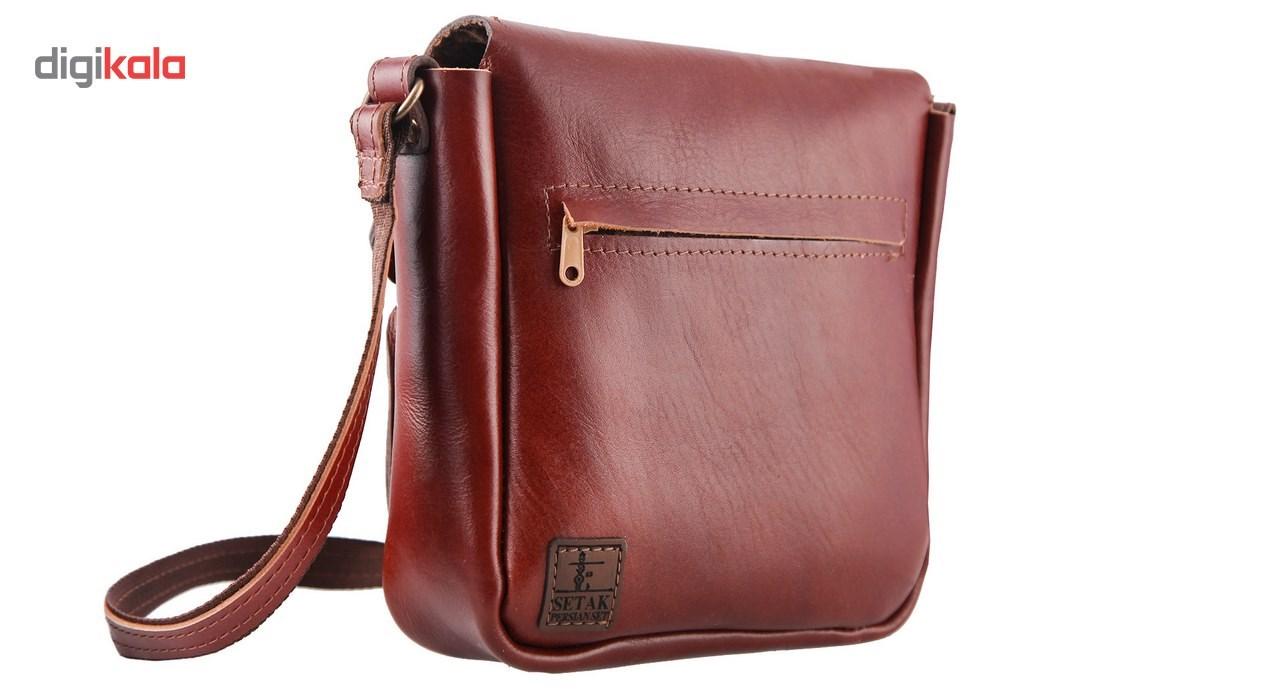 کیف دوشی چرم طبیعی گالری ستاک کد 81042 -  - 3