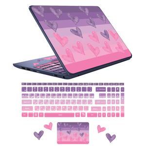 استیکر لپ تاپ مدل lovely heart مناسب برای لپ تاپ 17 اینچ به همراه برچسب حروف فارسی کیبورد