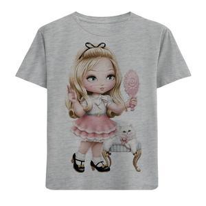 تیشرت آستین کوتاه دخترانه طرح دخترک و آینه کد F164