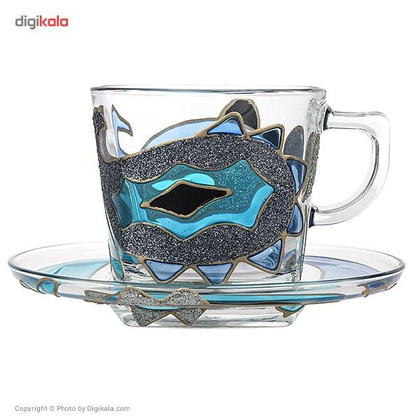 ست فنجان و نعلبکی گالری انار مدل بته جقه آبی