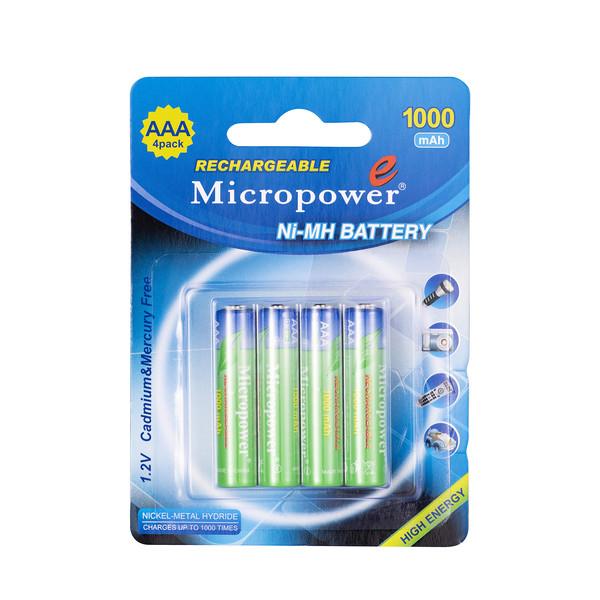 باتری نیم قلمی قابل شارژ میکروپاور مدل NiMH 1000 بسته 4 عددی