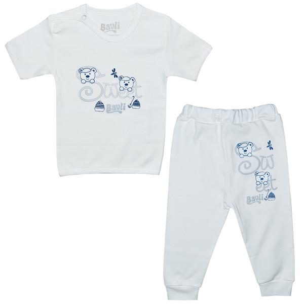 ست تی شرت و شلوار نوزادی باولی مدل خرس و قایق کد 2