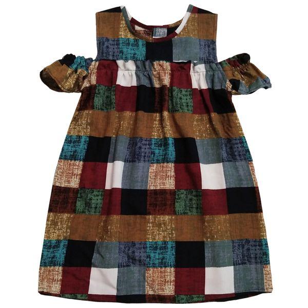 پیراهن دخترانه طرح چهار خانهمدل درنا