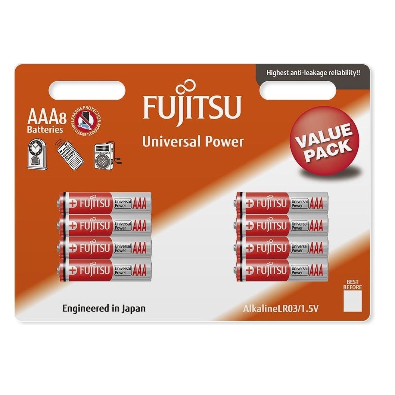 باتری نیم قلمی فوجیتسو مدل Universal Power LR03 بسته 8 عددی