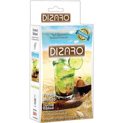 کاندوم خاردار و شیاردار  دیزارو مدل fresh mojito بسته 12 عددی