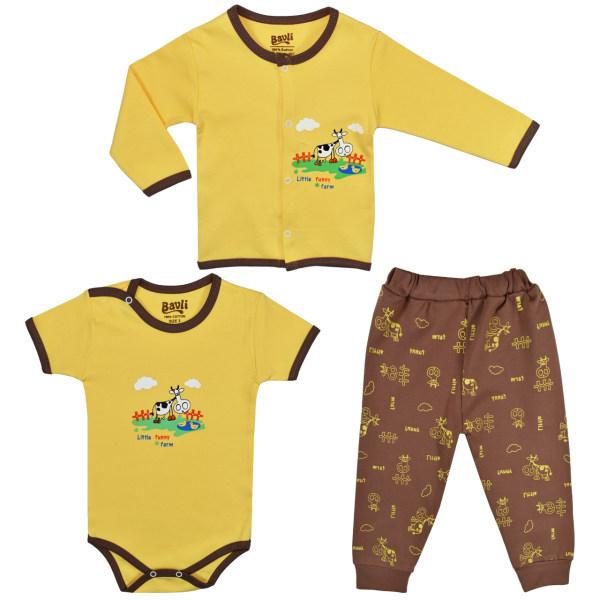 ست 3 تکه لباس نوزادی باولی مدل گاو کد 1
