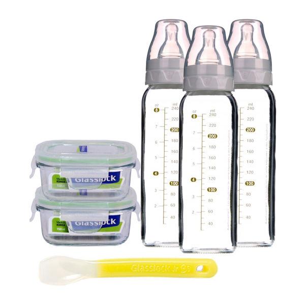 شیشه شیر گلس لاک مدل gl376 مجموعه 4 عددی به همراه ظرف غذای کودک