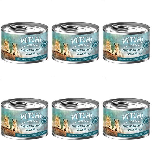 کنسرو غذای بچه گربه پتچی مدل Chicken & Duck Calsium Plus وزن 120 گرم بسته 6 عددی