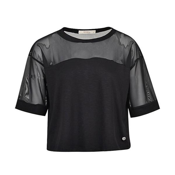 تی شرت آستین کوتاه زنانه بادی اسپینر مدل 2484 کد 1 رنگ مشکی